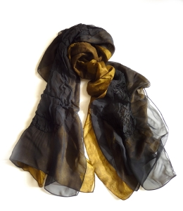 Black and Gold Silk Chiffon Truffle Scarf by Yuh Okano