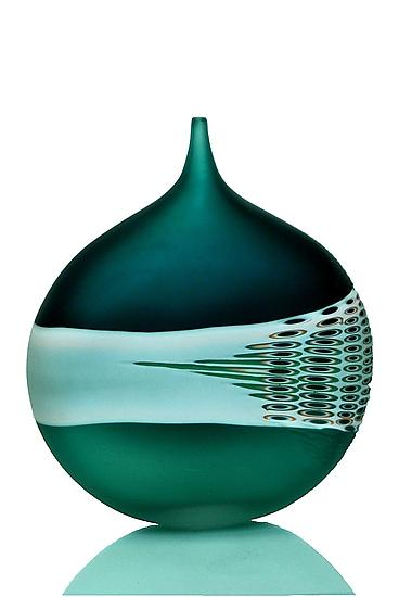 Carved Green Bottle by David Royce
