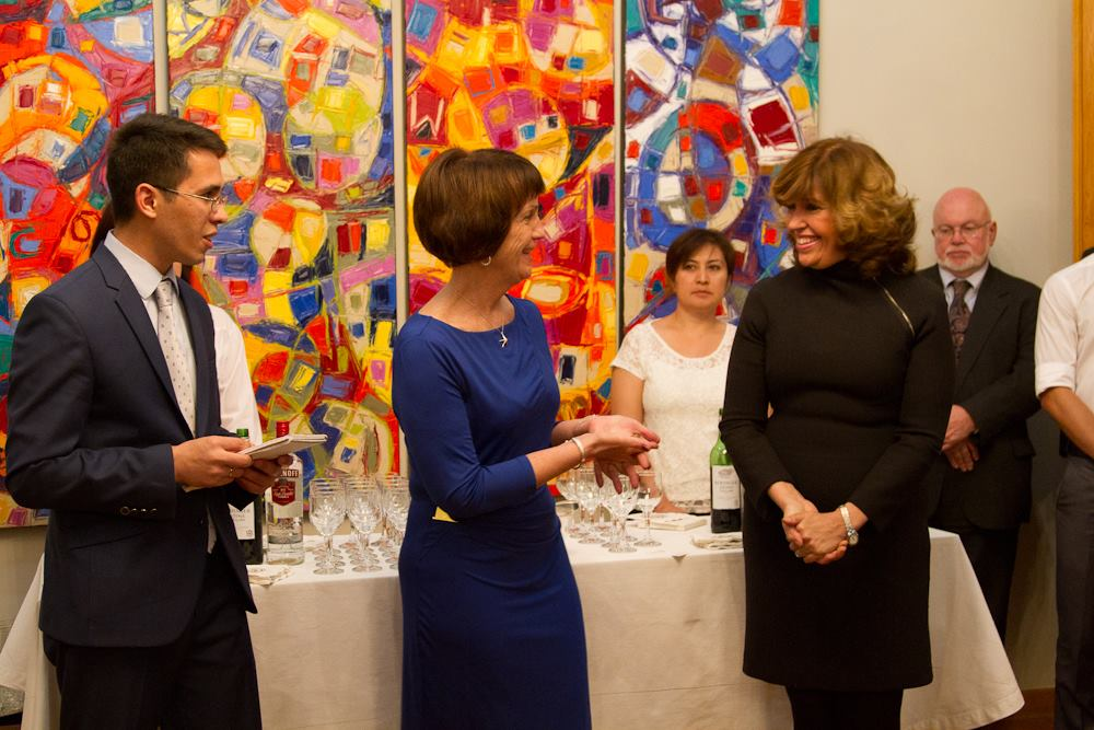 Reception for the US Ambassador to Dushanbe's residence, 2014. Jeff's work was chosen as part of a selection of art to be displayed in the residence.