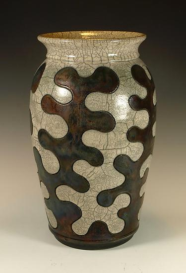 Puzzle Vessel with Copper and Crackle Glazes by Lance Timco