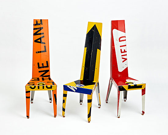 """An attraction to the bold graphics of discarded highway signage inspired Boris Bally to collect, recycle, and fabricate furniture of great wit and distinction. His chairs - with fragmented words, symbols, and arrows splashed across their surfaces - seem to symbolize urban grit and rhythms."" -- Michael Monroe (shown: Transit Chair by Boris Bally)"