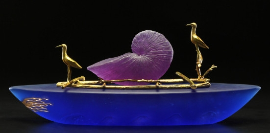 Nautilus Boat art glass sculpture by Georgia Pozycinski and Joseph Pozycinski