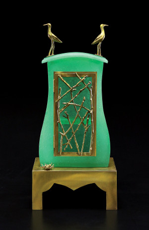 Sandpiper Cabinet art glass sculpture by Georgia Pozycinski and Joseph Pozycinski