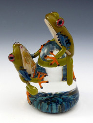 Red-Eyed Tree Frogs Paperweight by Eric Bailey