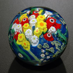 Landscape Series Paperweight Poppy, Hippie Daisy, Double White by Shawn Messenger