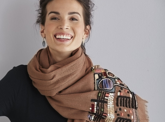 Hand Embroidered Wrap by Maliparmi available at Artful Home