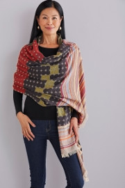 Printed Wool Wrap by Maliparmi available at Artful Home